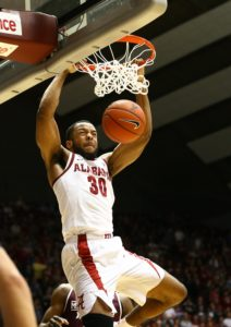 Jan 29, 2019; Tuscaloosa, AL, USA; Alabama Crimson Tide forward Galin Smith (30) dunks the ball against the Mississippi State Bulldogs during the second half at Coleman Coliseum. Mandatory Credit: Marvin Gentry-USA TODAY Sports