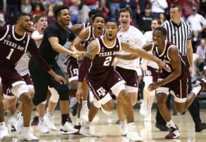 Jan 12, 2019; Tuscaloosa, AL, USA; Texas A&M Aggies guard TJ Starks (2) reacts with his teammates after he hit the game-winning shot as time expires to defeat the Alabama Crimson Tide during the at Coleman Coliseum. Mandatory Credit: Marvin Gentry-USA TODAY Sports